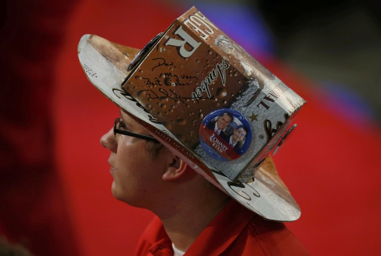 A man on the floor of the convention wears a hat made of beer boxes before the second session of the Republican National Convention in Tampa, Florida. (Mike Segar/Reuters)