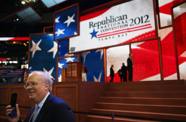 Karl Rove, former Deputy Chief of Staff and Senior Policy Adviser to U.S. President George W. Bush, walks on the floor before the start of the second day of the Republican National Convention at the Tampa Bay Times Forum in Tampa, Florida. (Chip Somodevilla/Getty Images)