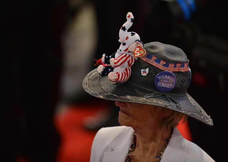 A delegate sports a hat with the Republican mascot at the Tampa Bay Times Forum in Tampa, Florida shortly before the start of the day's Republican National Convention events. (Stan Honda/AFP/Getty Images)