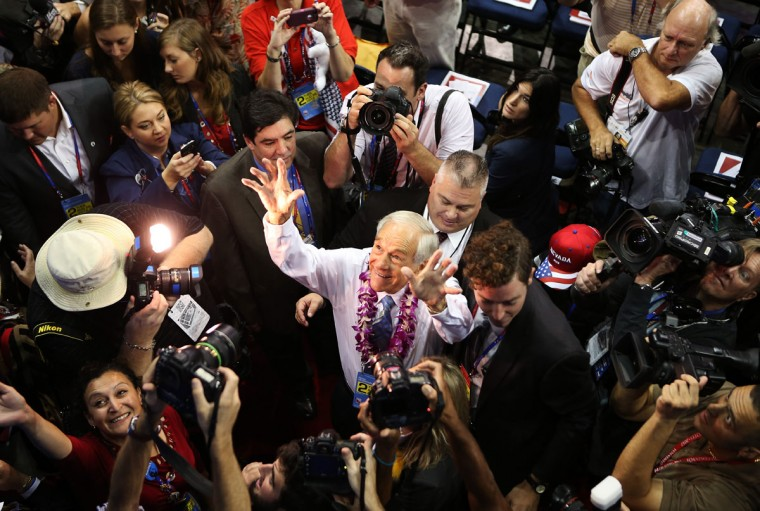 U.S. Rep. Ron Paul (R-TX) walks the arena floor during the second day of the Republican National Convention at the Tampa Bay Times Forum in Tampa, Florida. (Chip Somodevilla/Getty Images)