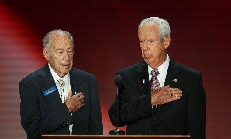 Former Montana Gov. Tim Babcock (L) and WWII Veteran Tom Hogan say the Pledge of Allegiance during the Republican National Convention at the Tampa Bay Times Forum in Tampa, Florida. (Mark Wilson/Getty Images)