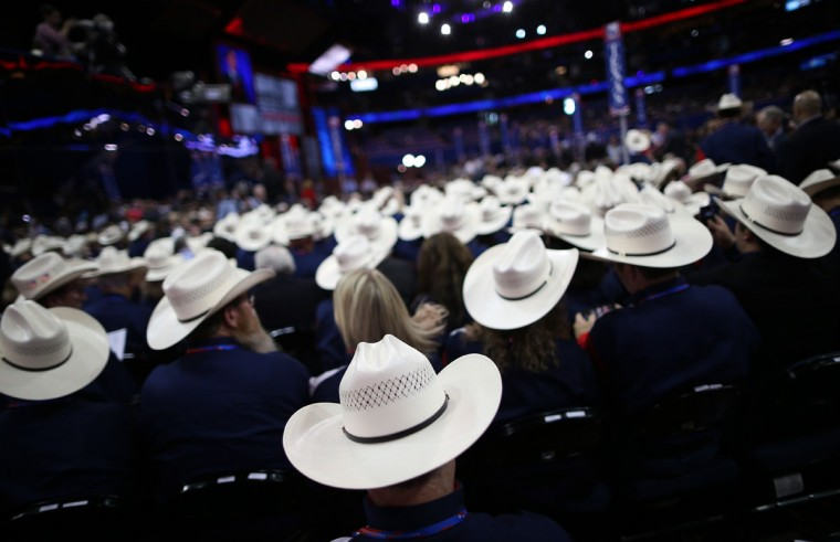 People wearing cowboy hats sit during the Republican National Convention at the Tampa Bay Times Forum in Tampa, Florida. (Chip Somodevilla/Getty Images)