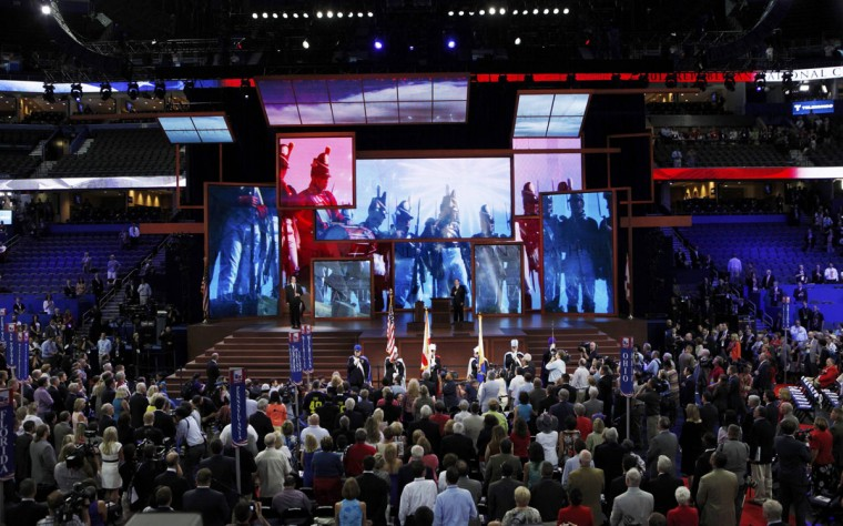 Delegates stand for a prayer and the U.S. national anthem at the start of the second session of the Republican National Convention in Tampa, Florida. (Mike Segar/Reuters)
