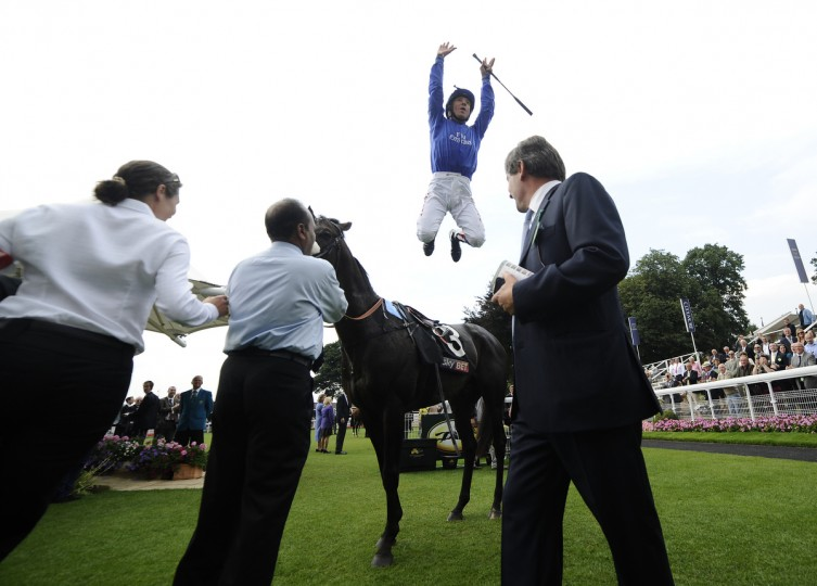 Frankie Dettori celebrates after riding Dubai Prince to a win The Sky Bet Strensall Stakes at York racecourse in York, England. (Alan Crowhurst/Getty Images)
