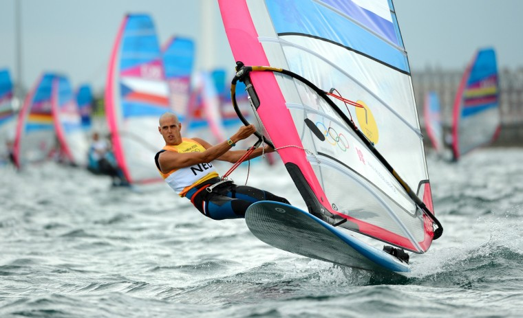 Netherlands's Dorian Van Rijsselberge competes in the RS:X sailing class at the London 2012 Olympic Games, in Weymouth on August 1, 2012. (William West/GettyImages)
