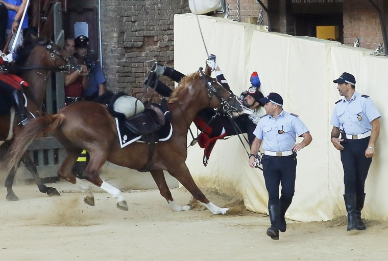 An Italian Carabinieri falls off during a parade on the eve of the Palio horse race, in Siena . The Palio medieval race is held twice a year in Siena with jockeys riding bareback around a makeshift race course set up in the city's central square. (Fabio Muzzi/GettyImages)