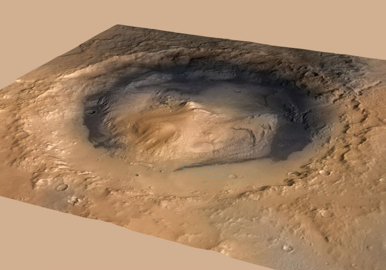 August 14, 2012: An oblique view of Gale, and Mount Sharp are seen in the center in this image derived from a combination of elevation and imaging data from three Mars orbiters. The view is looking toward the southeast. Mount Sharp rises about 3.4 miles (5.5 kilometers) above the floor of Gale Crater. (NASA/JPL-Caltech/MSSS/FU Berlin/DLR/ESA/HO/AFP/Getty Images)