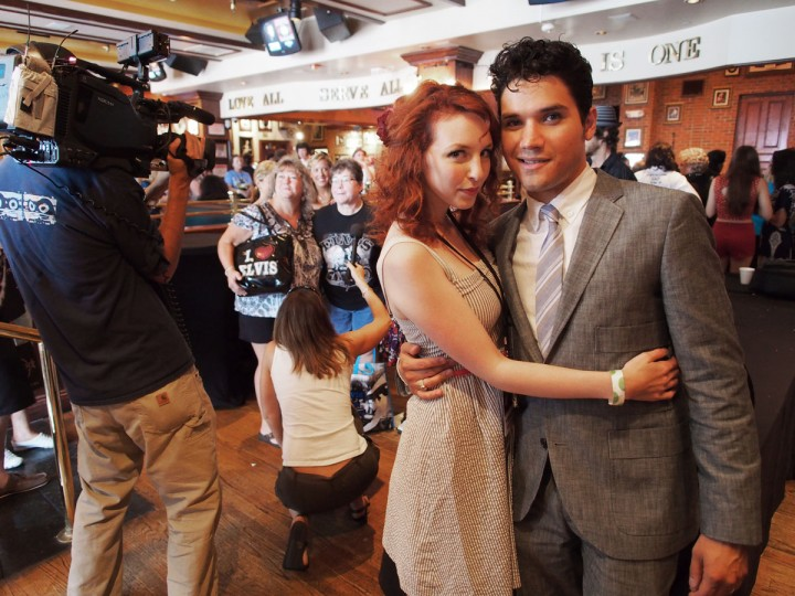 August 16, 2012: Elvis Presley tribute artist Victor Trevino, 27, of Fort Worth, Texas, poses with wife Chloe Trevino during an Elvis Week event in Memphis, Tennessee, on the 35th anniversary of the death of the rock icon. Trevino is among 29 contestants in the sixth annual Ultimate Elvis Tribute Artist Contest, and one of the few born after Presley's death. (Robert MacPherson/AFP/Getty Images)