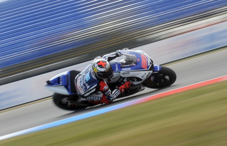 Moto GP rider Jorge Lorenzo of Spain rides his Yamaha during the free practice session at Czech Republic's Grand Prix circuit in Moto GP in Brno ahead of the Grand prix on August 26. (Michal Cizek/GettyImages)