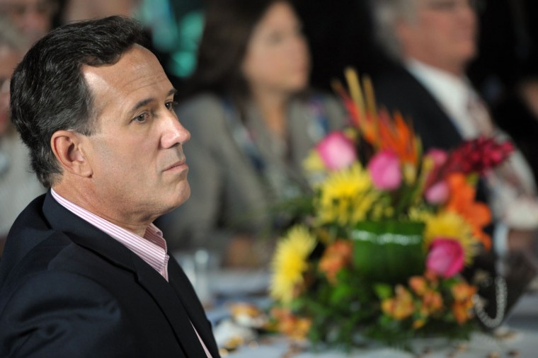 """Former Republican party presidential candidate US Senator Rick Santorum listens during a pro-life event called """"Treasure Life"""" at the Tampa Aquarium in Tampa, Florida on August 28, 2012. The Republican National Coalition for Life and FRC Action's event, """"Treasure Life,"""" honored the pro-life contributions of the former Republican party presidential candidates Sen. Rick Santorum, Rep. Michele Bachmann and Gov. Rick Perry for their advocacy for every stage of life, from conception to natural death. (Mladen Antonov/AFP/Getty Images)"""