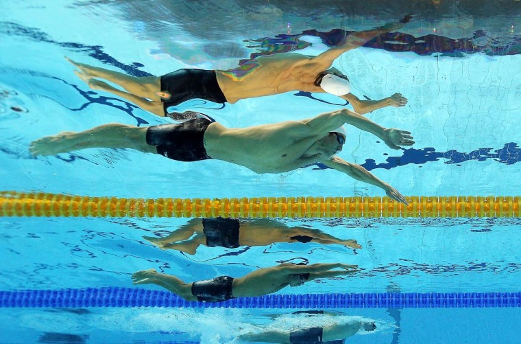 Michael Phelps of the United States competes in the Men's 200m Individual Medley on Day 5 of the London 2012 Olympic Games at the Aquatics Centre on August 1, 2012 in London, England. (Al Bello/Getty Images)