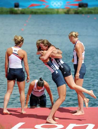 Members of the United States team celebrate with their gold medals during the medal ceremony after the Women's Eight final on Day 6 of the London 2012 Olympic Games at Eton Dorney on August 2, 2012 in Windsor, England. (Harry How/Getty Images)