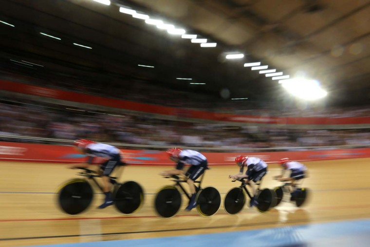 Great Britain post a new world record time during Men's Team Pursuit Track Cycling Qualifying on Day 6 of the London 2012 Olympic Games at Velodrome on August 2, 2012 in London, England. (Bryn Lennon/Getty Images)