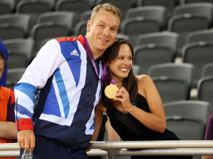 Sir Chris Hoy of Great Britain celebrates with his wife Sarra Hoy and his gold medal after setting a new world record in the Men's Team Sprint Track Cycling final on Day 6 of the London 2012 Olympic Games at Velodrome on August 2, 2012 in London, England. (Bryn Lennon/Getty Images)