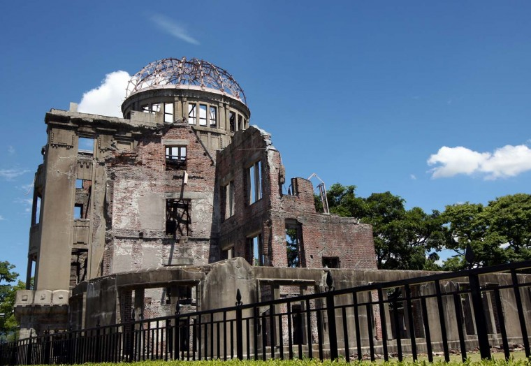 A general view of Hiroshima Peace Memorial, commonly called the Atomic Bomb Dome at the Hiroshima Peace Memorial Park in Hiroshima. (Buddhika Weerasinghe/Getty Images)