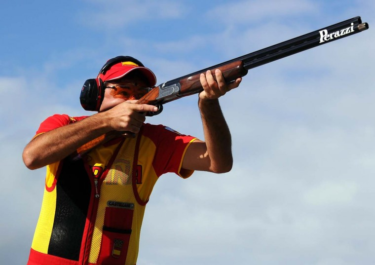 Jesus Serrano of Spain competes in the Men's Trap Shooting on Day 9 of the London 2012 Olympic Game at the Royal Artillery Barracks on August 5, 2012 in London, England. (Lars Baron/Getty Images)