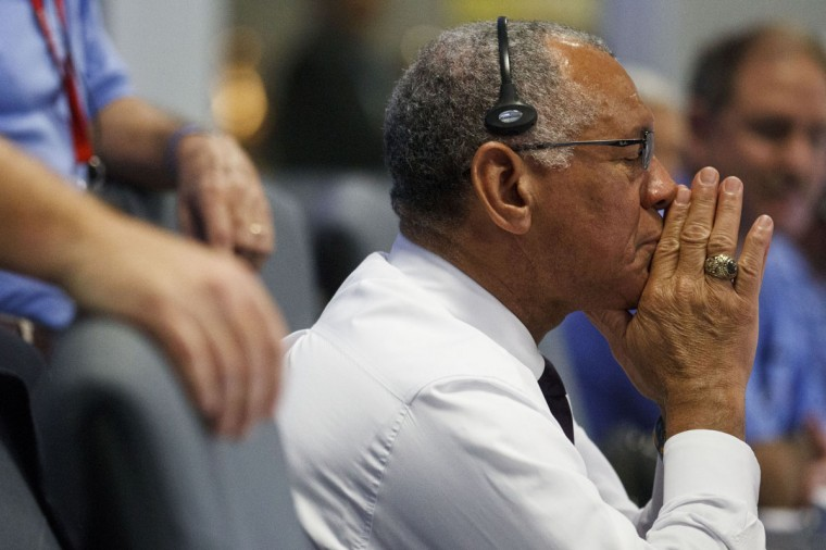 August 5, 2012: NASA Administrator Charles Bolden closes his eyes prayerfully as the rover begins its decent to the surface of mars, inside the Spaceflight Operations Facility for NASA's Mars Science Laboratory Curiosity rover at Jet Propulsion Laboratory in Pasadena, California. (Brian van der Brug-Pool/Getty Images)