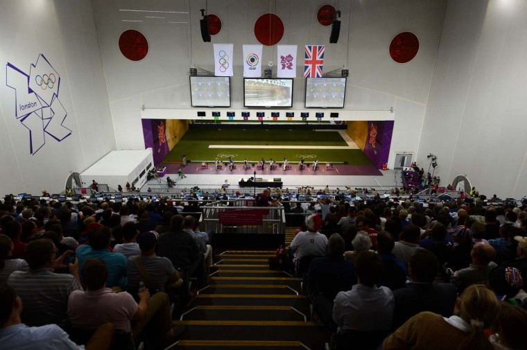 A general view of the hall at the Men's 50m Rifle 3 Positions Shooting Final on Day 10 of the London 2012 Olympic Games at the Royal Artillery Barracks on August 6, 2012 in London, England. (Lars Baron/Getty Images)