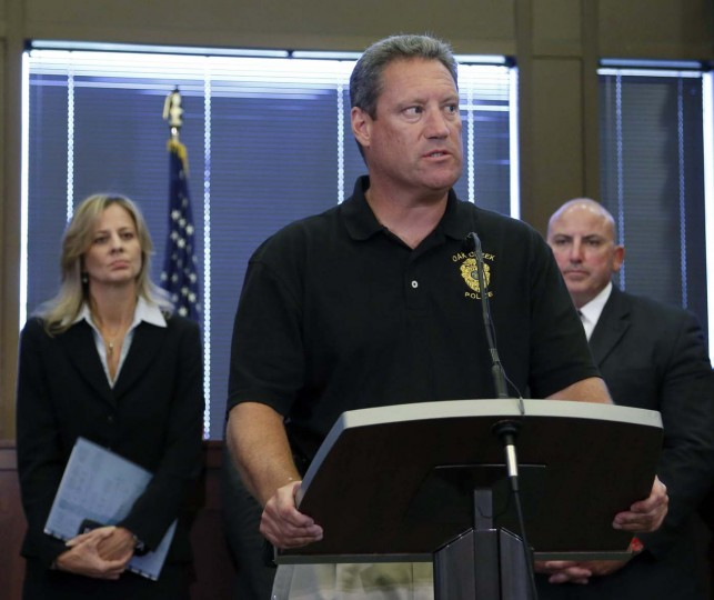 OAK CREEK, MI - AUGUST 6: Oak Creek Police chief John Edwards speaks at a press conference on the shooting at the Sikh Temple of Wisconsin where yesterday a gunman fired upon people at service August, 6, 2012 in Oak Creek, Wisconsin. (Darren Hauck/Getty Images)