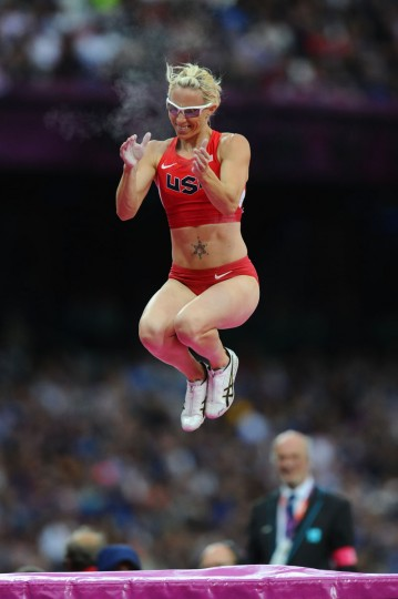 Becky Holliday of the United States reacts after clearing the bar in the Women's Pole Vault final on Day 10 of the London 2012 Olympic Games at the Olympic Stadium on August 6, 2012 in London, England. (Mike Hewitt/Getty Images)