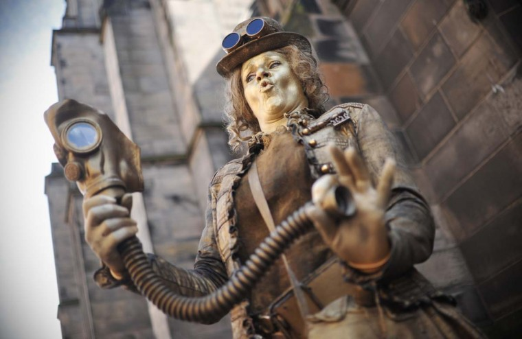 Steampunk Lady performs on the Royal Mile during the Edinburgh Festival Fringe in Edinburgh, Scotland. (Scott Campbell/Getty Images)