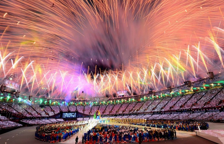 Fireworks explode over the stadium during the Closing Ceremony on Day 16 of the London 2012 Olympic Games at Olympic Stadium on August 12, 2012 in London, England. (Mike Hewitt/Getty Images)