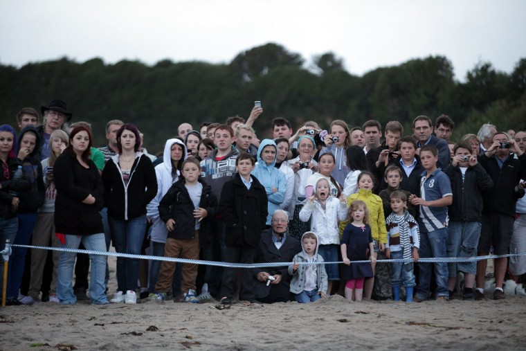 Onlookers watch as rescuers attempt to save a female fin whale, which was stranded on the beach at Carlyon Bay on August 13, 2012 in St Austell, England. (Matt Cardy/Getty Images)
