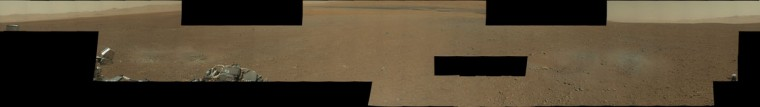 (Click to ZOOM in. Then double-click to ZOOM and MOVE around the image.) August 14, 2012: A high resolution panoramic image shows the view from NASA's Curiosity of the Gale Crater landing site on Mars. According to NASA, the image was made up of 130 1,200 by 1,200 pixel full-color images taken on August 8, all of the images sent to Earth by the rover so far. (NASA via Getty Images)