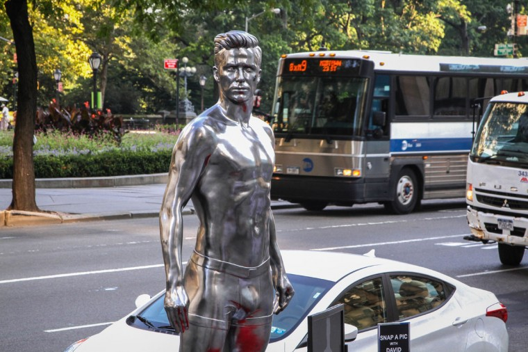 H&M Celebrates a new David Beckham ad campaign with a statue stunt on 5th Avenue and 59th St. on August 16, 2012 in New York City. (Anna Webber/Getty Images for H&M)
