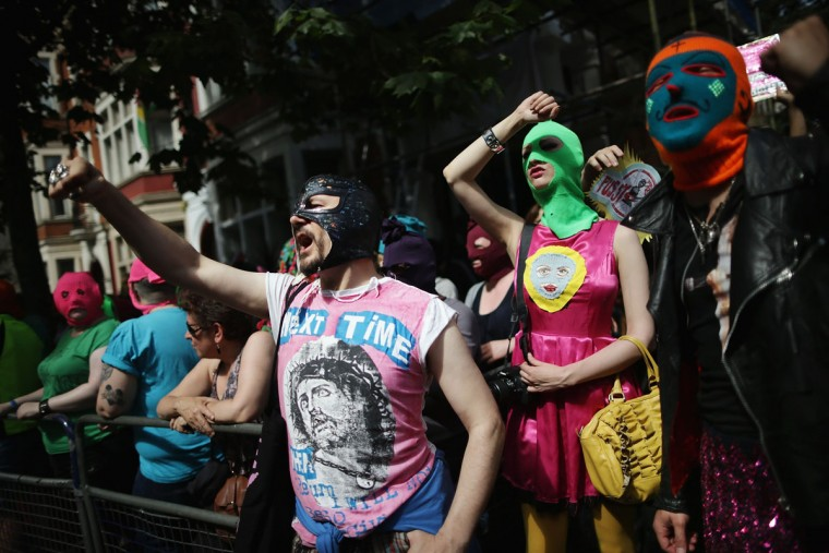 LONDON, ENGLAND - AUGUST 17: A demonstration by supporters of the jailed feminist punk band 'Pussy Riot' takes place outside the Russian Embassy on August 17, 2012 in London, England. (Dan Kitwood/Getty Images)