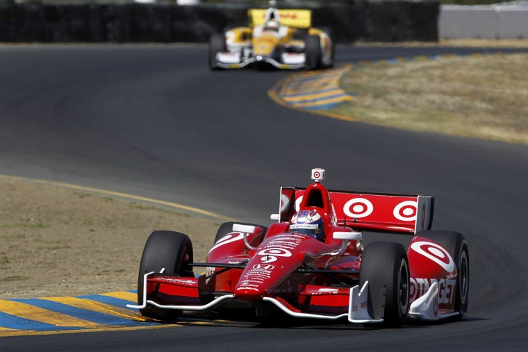 Scott Dixon drives the #9 Target Chip Ganassi Racing Honda during practice for the GoPro Indy Grand Prix at Sonoma on August 25, 2012 in Sonoma, California. (Todd Warshaw/Getty Images)