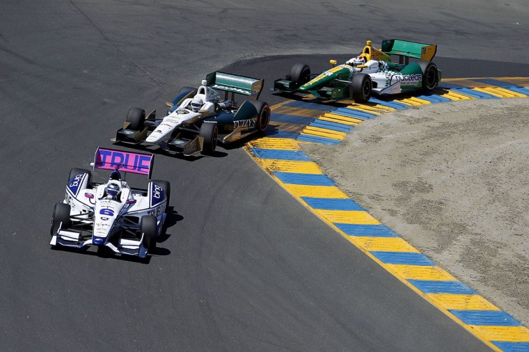 Katherine Legge, driver of the #6 TrueCar Dragon Racing Chevrolet, leads a pack of cars during the GoPro Indy Grand Prix of Sonoma at Sonoma on August 26, 2012 in Sonoma, California. (Todd Warshaw/Getty Images)