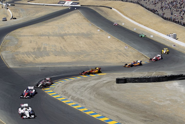 Oriol Servia, driver of the #22 Panther/Dreyer & Reinbold Racing Chevrolet, leads a pack of cars during the GoPro Indy Grand Prix of Sonoma at Sonoma on August 26, 2012 in Sonoma, California. (Todd Warshaw/Getty Images)