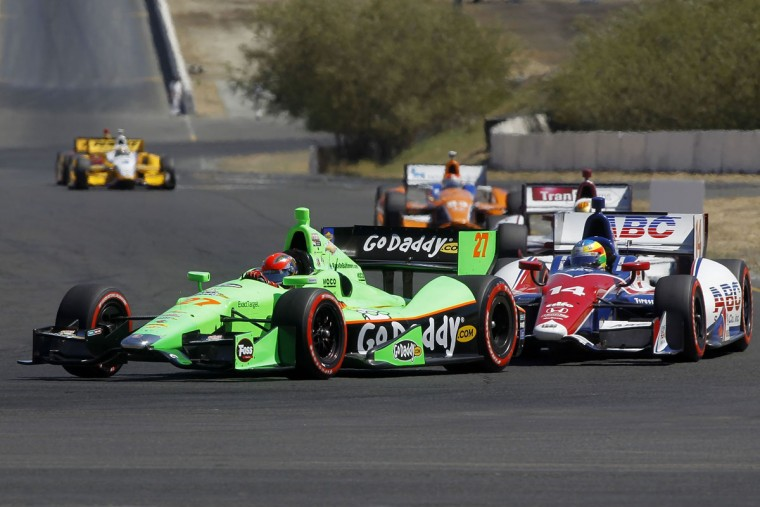 James Hinchcliffe, driver of the #27 Team GoDaddy.com Chevrolet, and Mike Conway, driver of the #14 ABC Supply Co/A.J. Foyt Racing Honda, drive during the GoPro Indy Grand Prix of Sonoma at Sonoma on August 26, 2012 in Sonoma, California. (Todd Warshaw/Getty Images)