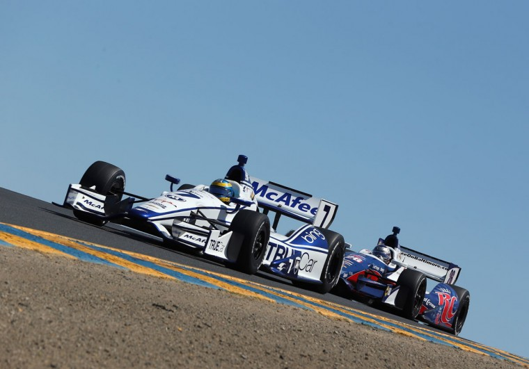 Sebastien Bourdais, driver of the #7 Dragon Racing Chevrolet leads Marco Andretti in the #26 Andretti Autosport Chevrolet, over a hill during the GoPro Indy Grand Prix of Sonoma at Sonoma on August 26, 2012 in Sonoma, California. (Jeff Gross/Getty Images)