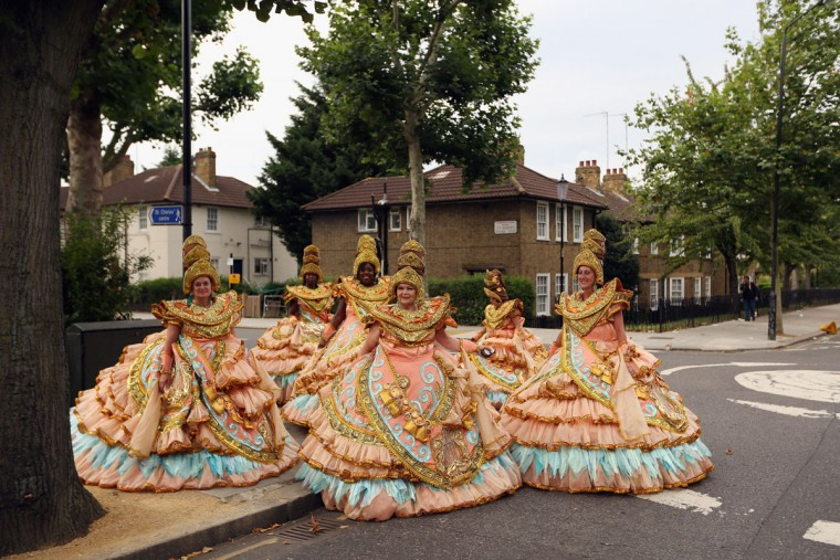 Members of the Paraiso School of Samba prepare to perform at the Notting Hill Carnival on August 27, 2012 in London, England. The annual 2-day carnival, which is the largest of its kind in Europe and is expected to attract around 1 million revellers, has taken place every August Bank Holiday since 1966. (Oli Scarff/Getty Images)
