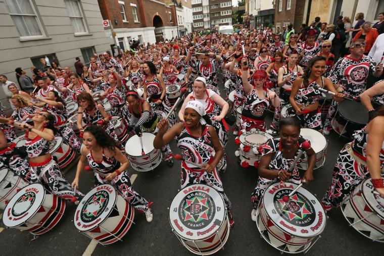 Drummers perform at the Notting Hill Carnival on August 27, 2012 in London, England. The annual 2-day carnival, which is the largest of its kind in Europe and is expected to attract around 1 million revellers, has taken place every August Bank Holiday since 1966. (Oli Scarff/Getty Images)