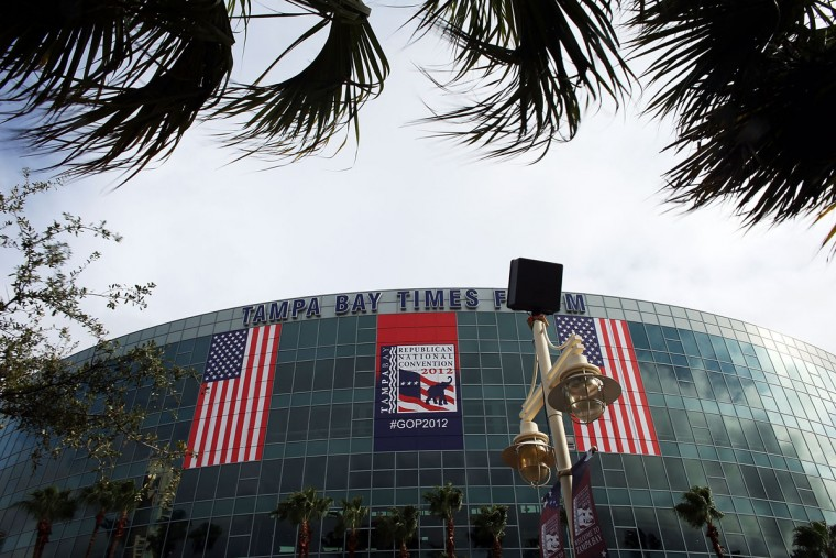 The Tampa Bay Times Forum is seen on August 27, 2012 in Tampa, Florida. Tampa is preparing for the start of the Republican National Convention at the Forum. The RNC is scheduled to convene on Monday and will hold its first session on August 28 as Tropical Storm Isaac has caused disruptions due to its proximity to the city. (Spencer Platt/Getty Images)