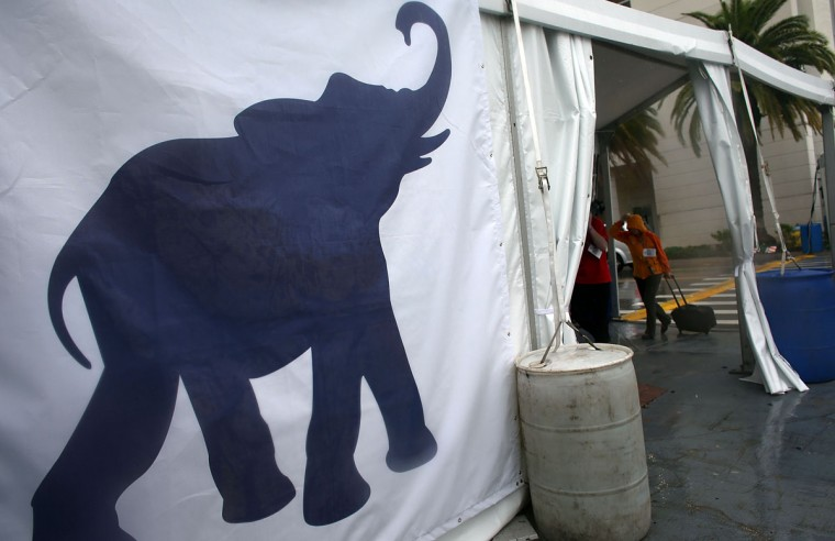 An elephant sign is seen on the side of a tent during the Republican National Convention at the Tampa Bay Times Forum on August 27, 2012 in Tampa, Florida. (Spencer Platt/Getty Images)
