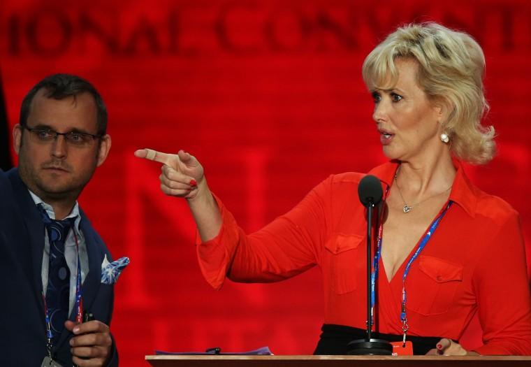 Actress Janine Turner stands at the podium on the abbreviated first day of the Republican National Convention at the Tampa Bay Times Forum on August 27, 2012 in Tampa, Florida. (Mark Wilson/Getty Images)