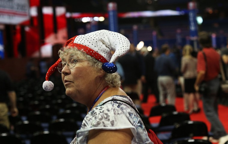 Alternate delegate Karen Skrill of Randolph, VT wears a jester hat on the arena floor before the start of the abbreviated first day of the Republican National Convention at the Tampa Bay Times Forum on August 27, 2012 in Tampa, Florida. (Spencer Platt/Getty Images)