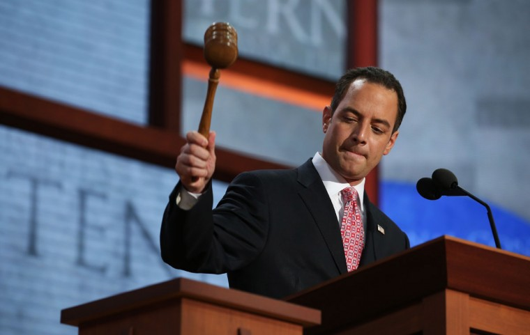 RNC Chairman Reince Priebus bangs the gavel to start the Republican National Convention at the Tampa Bay Times Forum on August 27, 2012 in Tampa, Florida. (Chip Somodevilla/Getty Images)