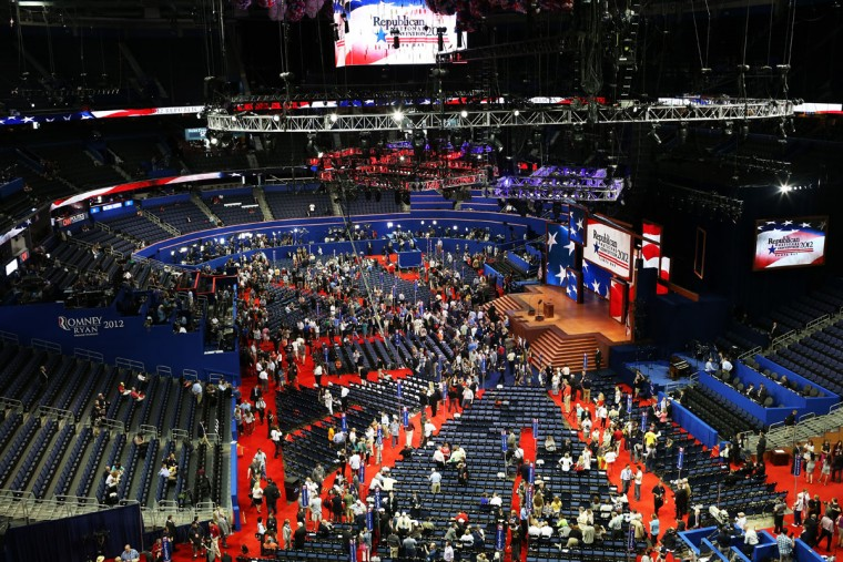 A general view of people on the arena floor at the start of the Republican National Convention at the Tampa Bay Times Forum on August 27, 2012 in Tampa, Florida. (Spencer Platt/Getty Images)