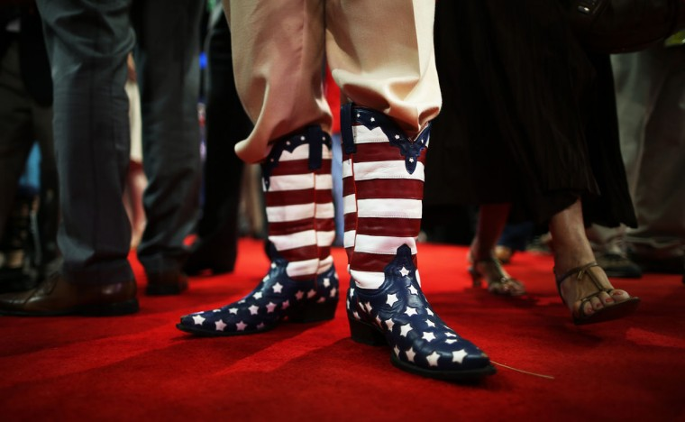 Delegate Don Genhart wears American flag cowboy boots during the Republican National Convention at the Tampa Bay Times Forum in Tampa, Florida. (Chip Somodevilla/Getty Images)