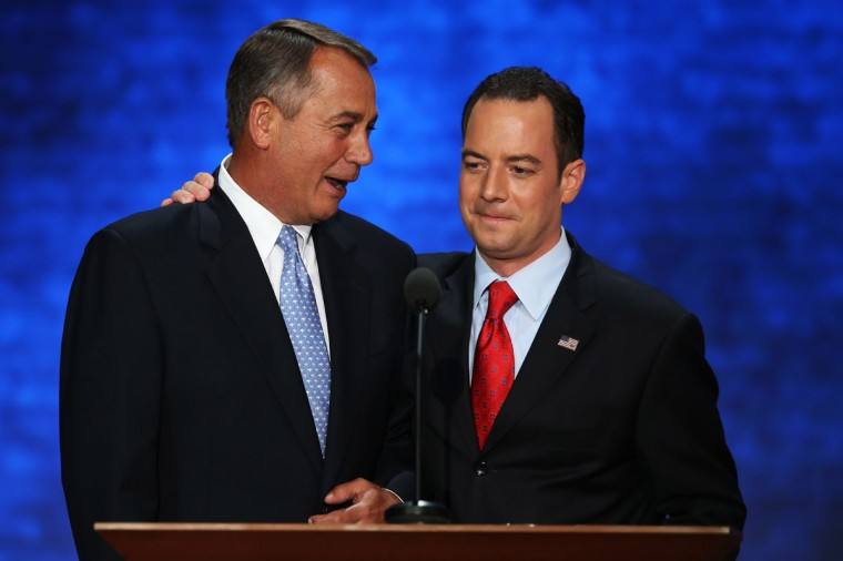 U.S. Speaker of the House Rep. John Boehner (R-OH) stands on stage with RNC Chairman Reince Priebus (R) during the Republican National Convention at the Tampa Bay Times Forum in Tampa, Florida. (Mark Wilson/Getty Images)