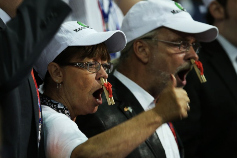 """Members of the Maine delegation chant """"point of order"""" during the Republican National Convention at the Tampa Bay Times Forum in Tampa, Florida. (Scott Olson/Getty Images) ORG XMIT: 150795250"""