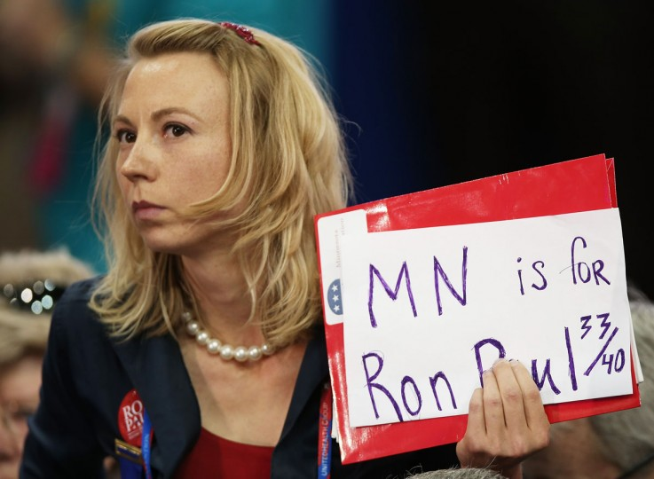A supporter of U.S. Rep. Ron Paul (R-TX) from Minnesota holds a sign during the Republican National Convention at the Tampa Bay Times Forum in Tampa, Florida. (Win McNamee/Getty Images)
