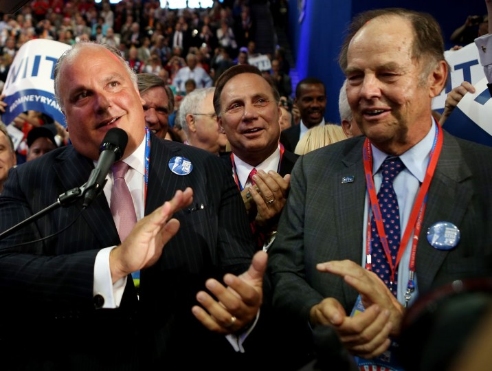 Todd Christie (L), brother of New Jersey Gov. Chris Christie announces the nomination during roll call with former New Jersey Gov. Thomas Kean during the Republican National Convention at the Tampa Bay Times Forum in Tampa, Florida. (Chip Somodevilla/Getty Images)