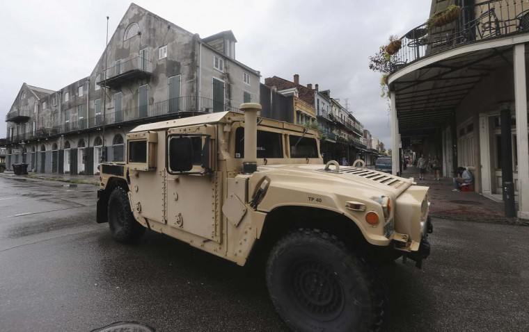 A National Guard Humvee patrols in the French Quarter in New Orleans, Louisiana. (Mario Tama/Getty Images)