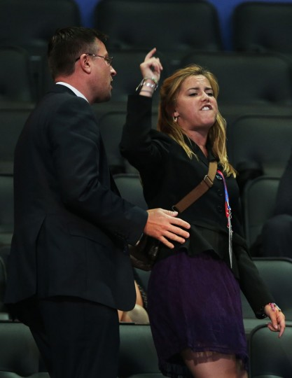 A demonstrator shouts as she is removed from an upper deck as former U.S. Sen. Rick Santorum speaks during the Republican National Convention at the Tampa Bay Times Forum on August 28, 2012 in Tampa, Florida. (Win McNamee/Getty Images)